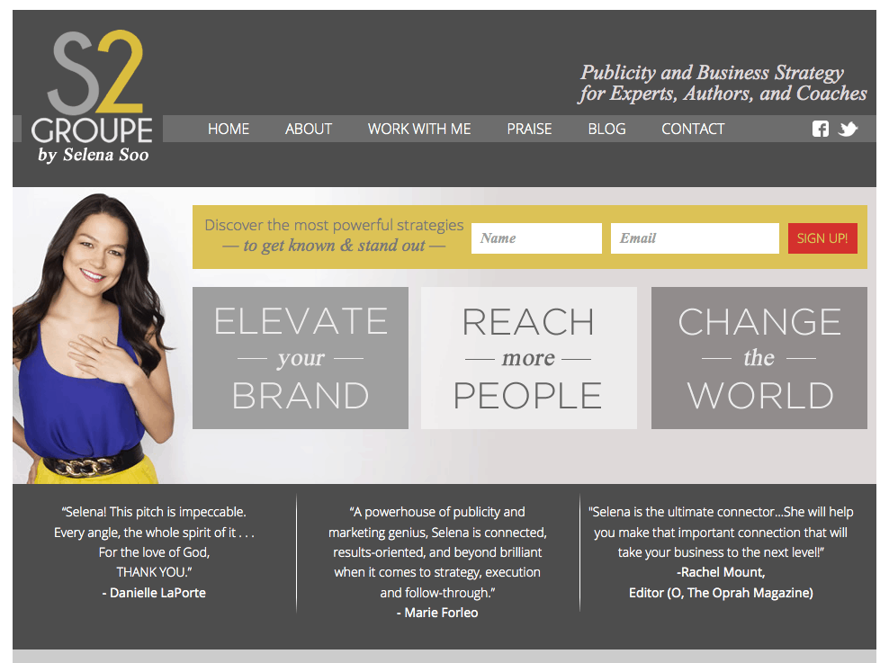 Selenas home page
